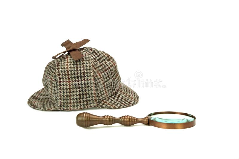 OIN de loupe de Sherlock Holmes Deerstalker Cap And Vintage photographie stock