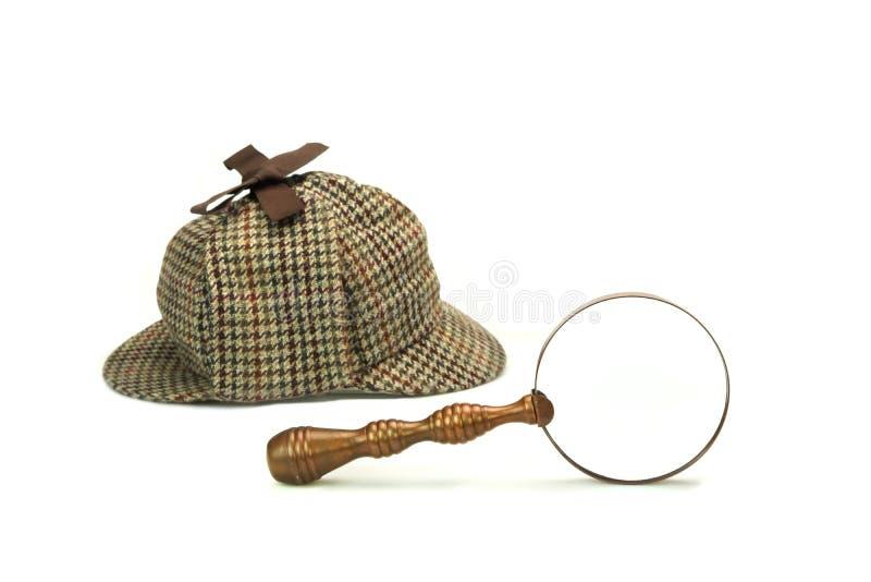 OIN de loupe de Sherlock Holmes Deerstalker Cap And Vintage photo stock