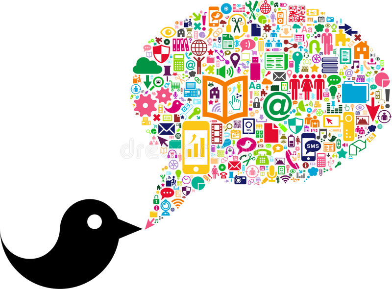 Oiseau avec la bulle sociale de la parole de media illustration de vecteur
