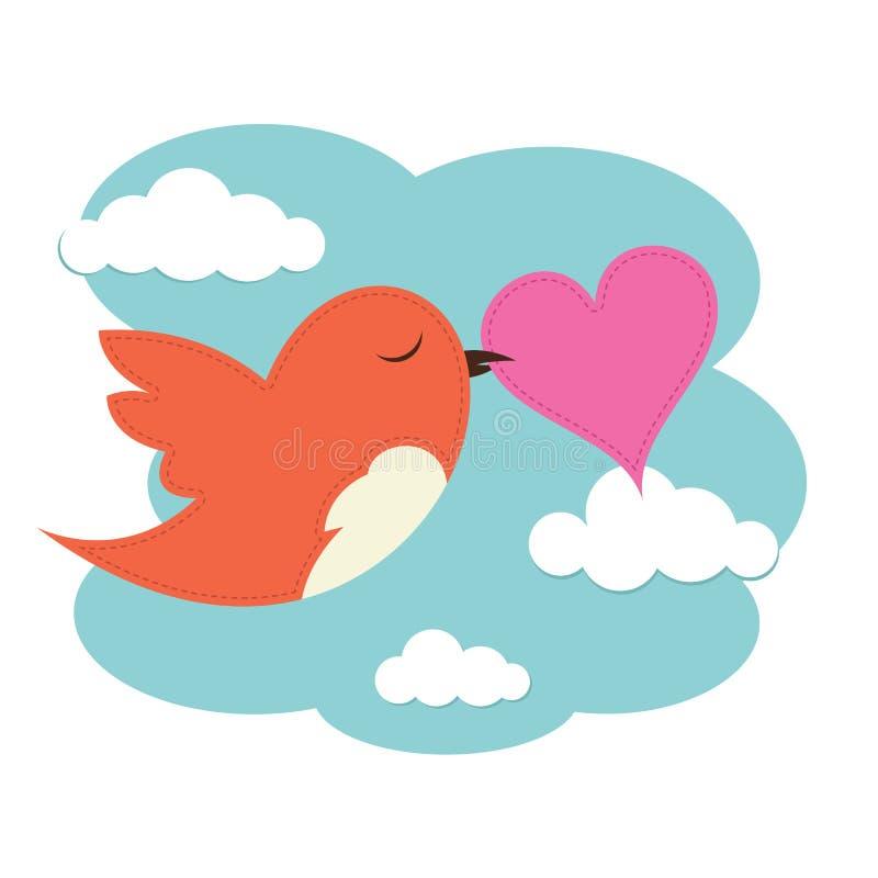 Oiseau avec le coeur d 39 amour illustration de vecteur for Petit oiseau avec houpette