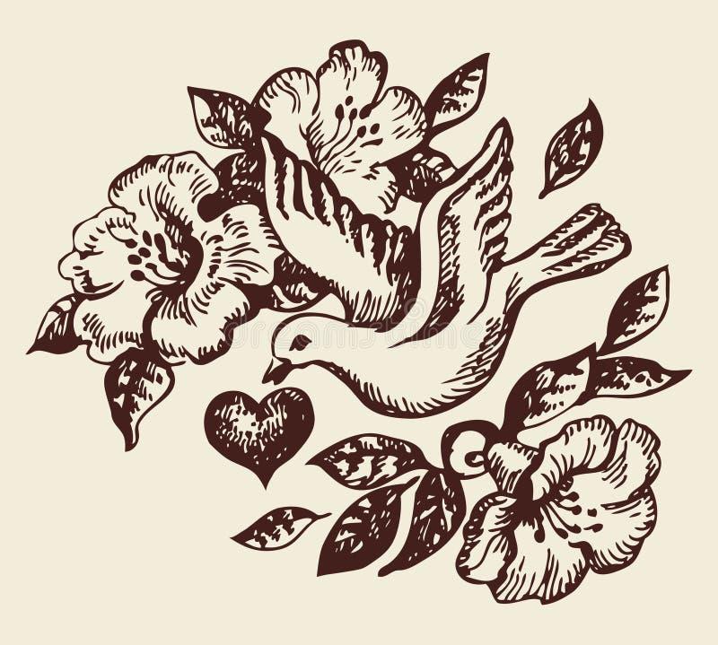 Oiseau avec le coeur et les fleurs illustration de vecteur