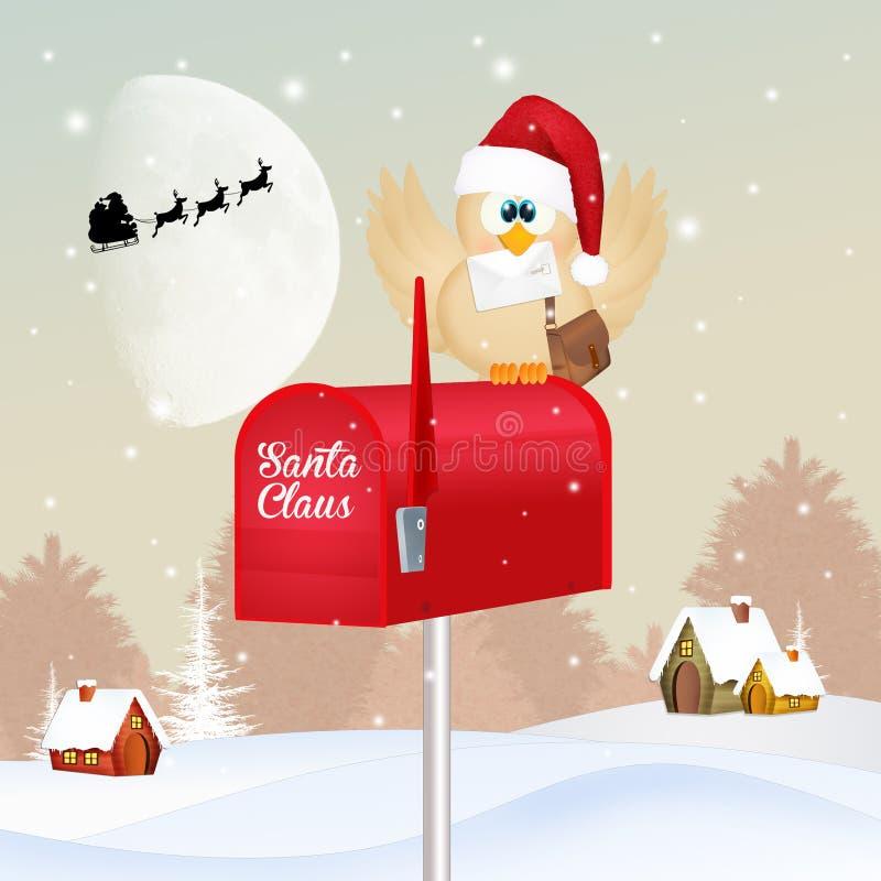 Oiseau avec le courrier de Noël illustration de vecteur