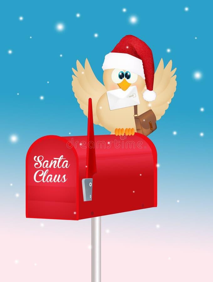 Oiseau avec le courrier de Noël illustration stock