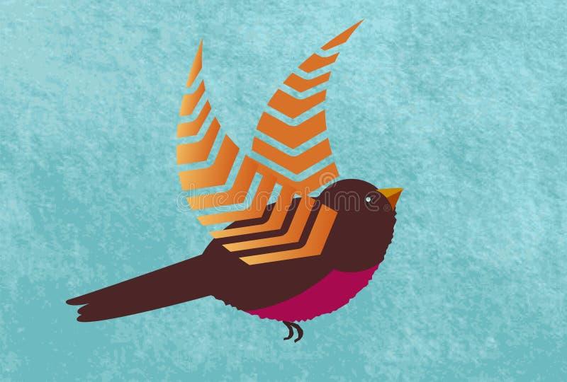 Oiseau avec les ailes uniques au-dessus de l'aquarelle illustration stock