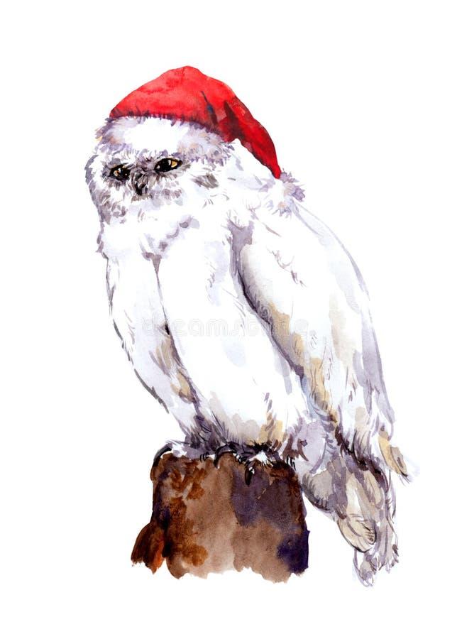 Oiseau blanc de hibou de nouvelle année dans le chapeau de Santa rouge watercolour illustration de vecteur
