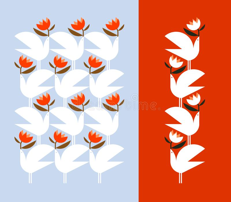 Oiseau blanc tenant la fleur rouge Éléments et modèle décoratifs de conception de vecteur illustration de vecteur