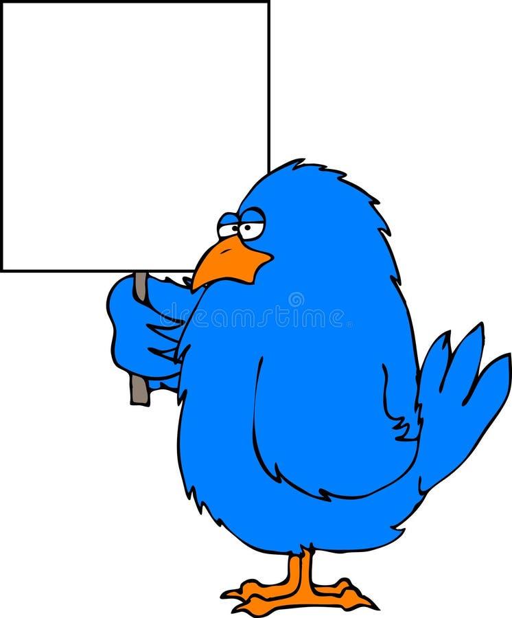 Oiseau bleu avec un signe blanc illustration de vecteur