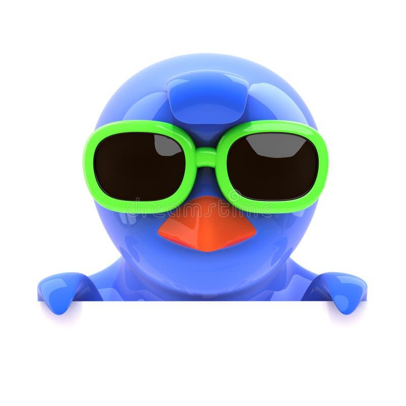 Download Oiseau Bleu 3d Regardant Au-dessus Du Dessus Dans Des Lunettes De Soleil Vertes Illustration Stock - Illustration du medias, mignon: 45350843