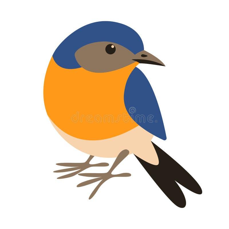 Oiseau bleu oriental, style plat, avant illustration libre de droits