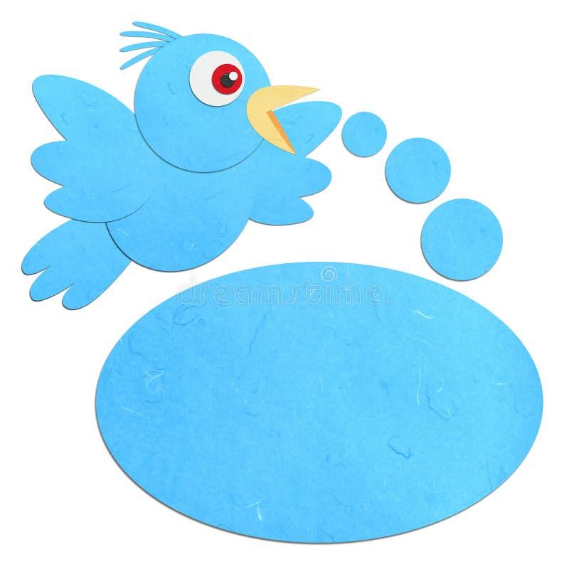 Oiseau bleu parlant coupé de papier de riz illustration de vecteur