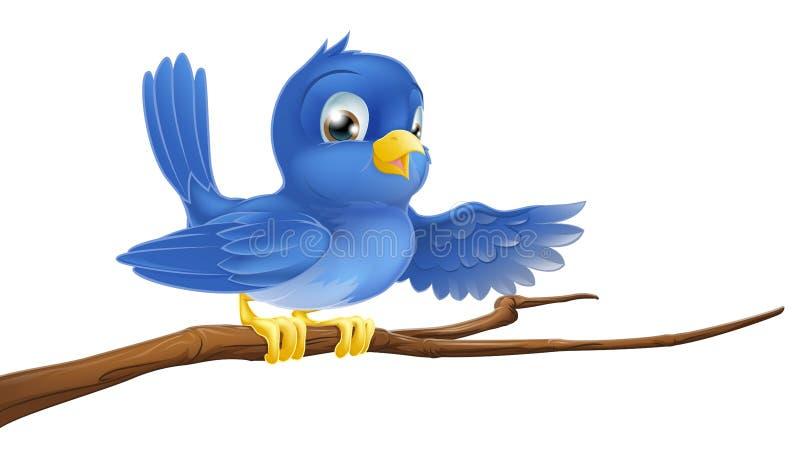 Oiseau bleu se reposant sur le pointage de branchement illustration stock