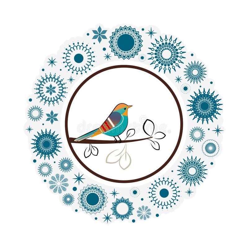 Oiseau coloré de beaux flocons de neige de collection  illustration libre de droits