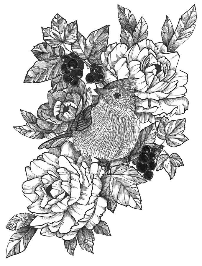 Oiseau détaillé à l'encre noire de tatouage en composition florale illustration libre de droits
