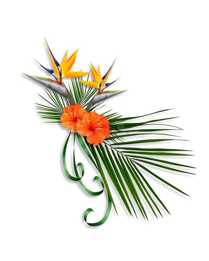 Oiseau d'agencement floral de paradis illustration de vecteur