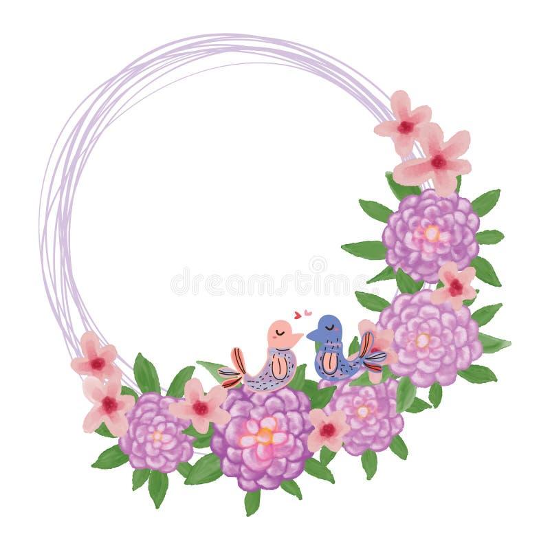 Oiseau d'amour de fleur de dahlia illustration de vecteur