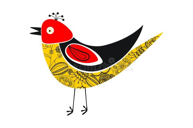 Oiseau d'isolement coloré de position de cru Modèle de fleurs de cru sur l'oiseau illustration de vecteur