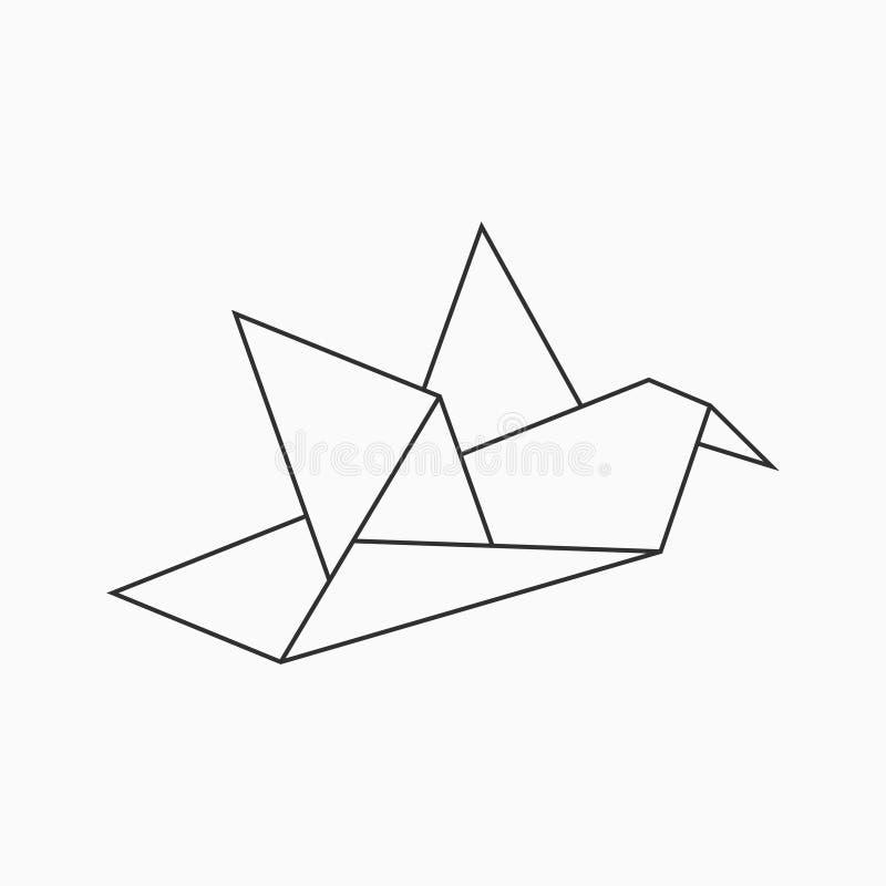 Oiseau d'Origami Rayez la forme géométrique pour l'art du papier plié Vecteur illustration libre de droits