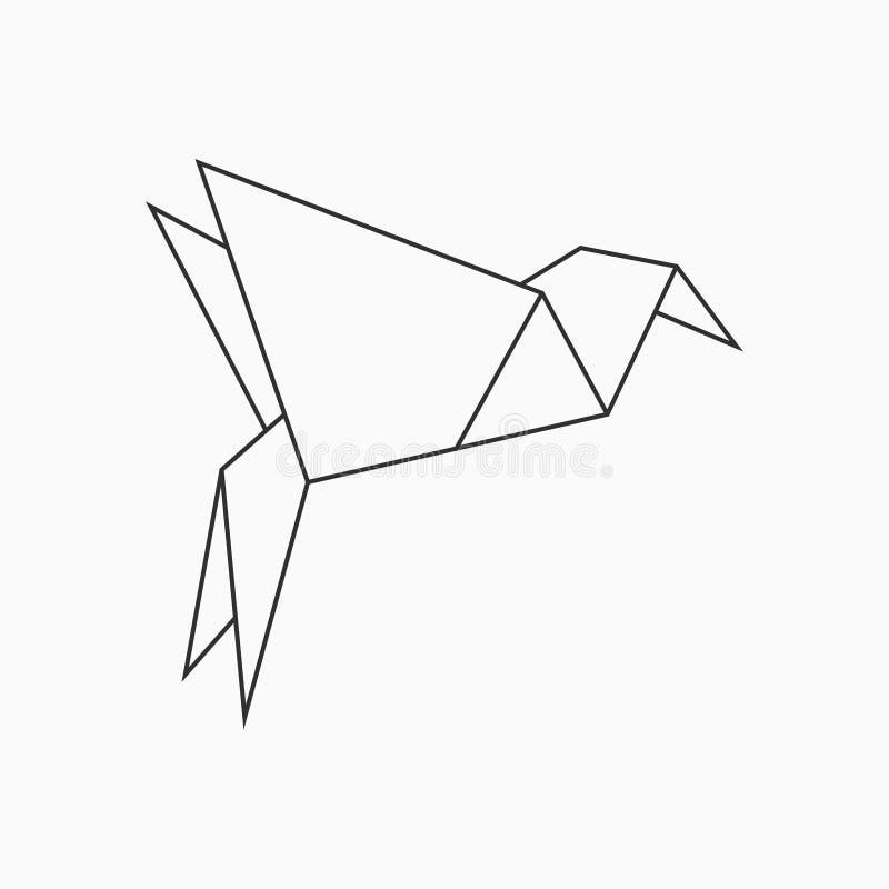 Oiseau d'Origami Rayez le calibre géométrique pour l'art du papier plié Vecteur illustration de vecteur