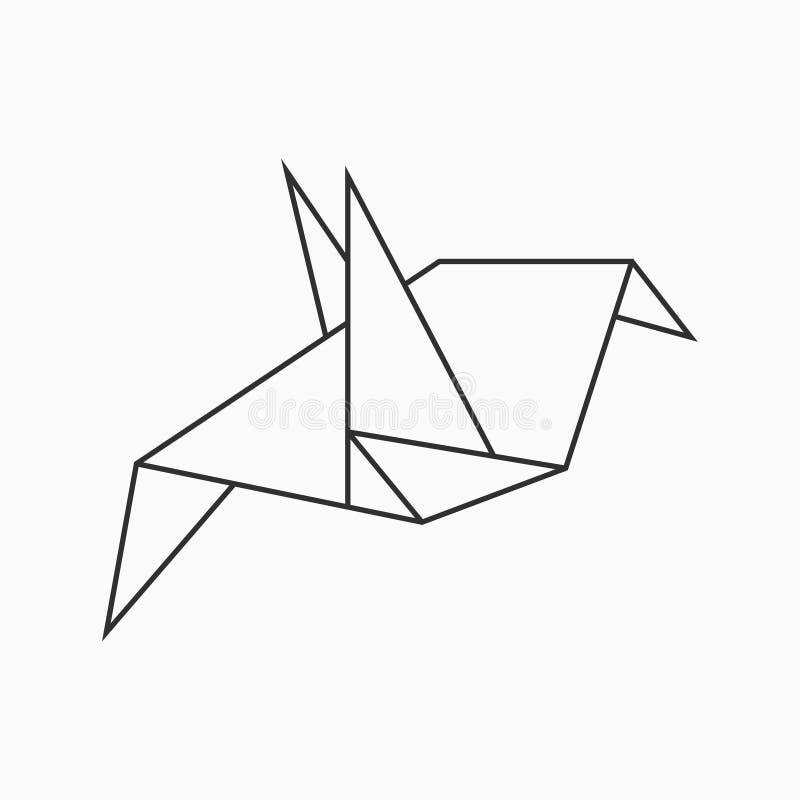 Oiseau d'Origami Rayez le chiffre géométrique pour l'art du papier plié Vecteur illustration libre de droits