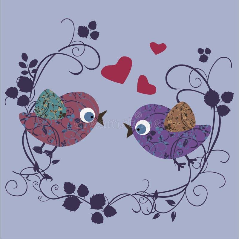 Oiseau dans l'amour illustration libre de droits