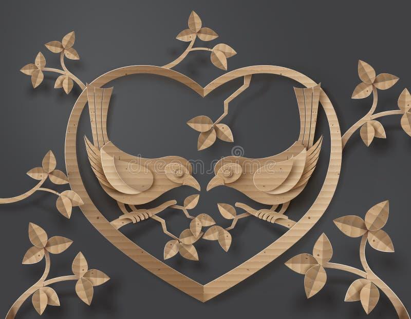 Oiseau dans l'amour illustration de vecteur