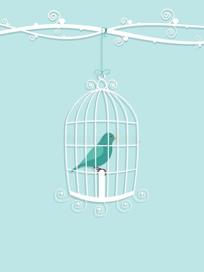 Oiseau dans la cage illustration stock