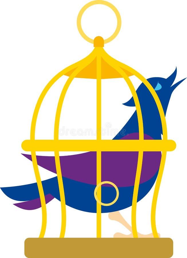 Oiseau dans la cage illustration de vecteur
