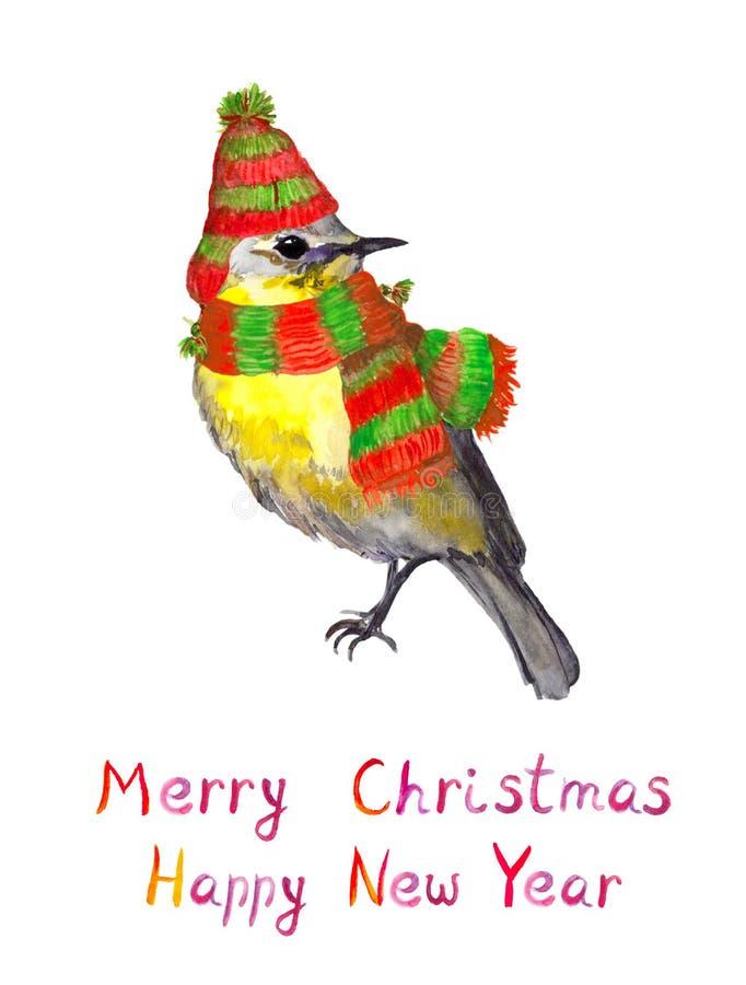 Oiseau dans le chapeau et l'écharpe d'hiver Carte postale pour aquarelle de saison illustration stock