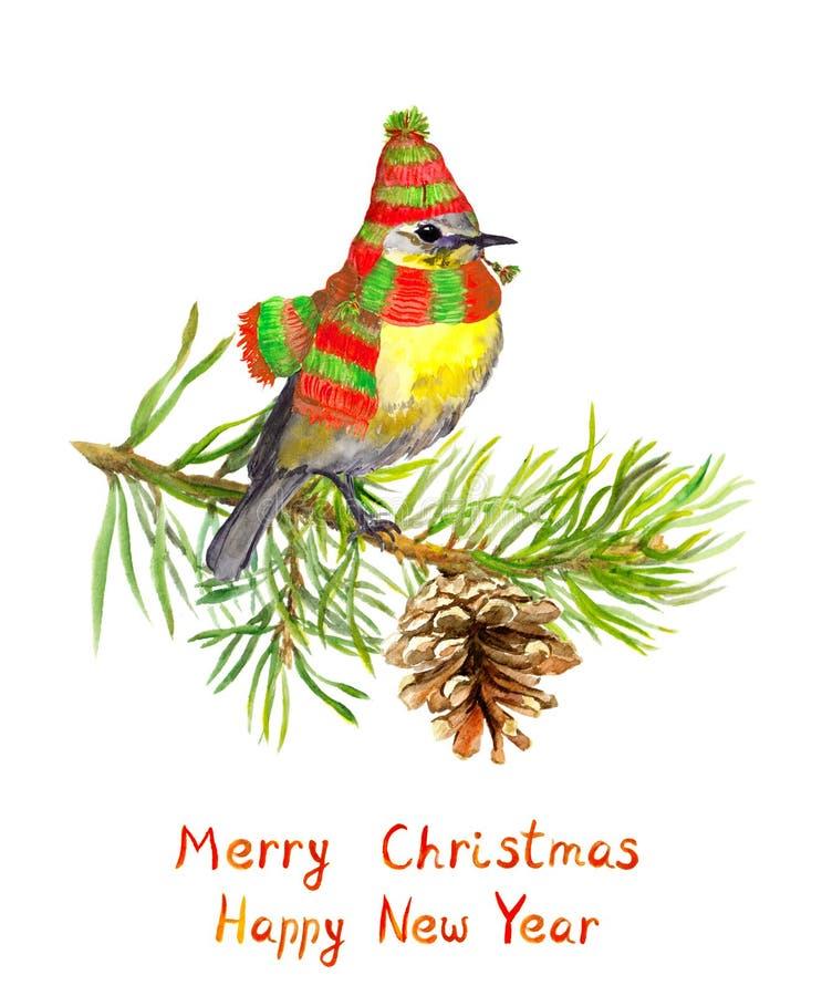 Oiseau dans le chapeau et l'écharpe d'hiver sur l'arbre de Noël watercolor illustration stock
