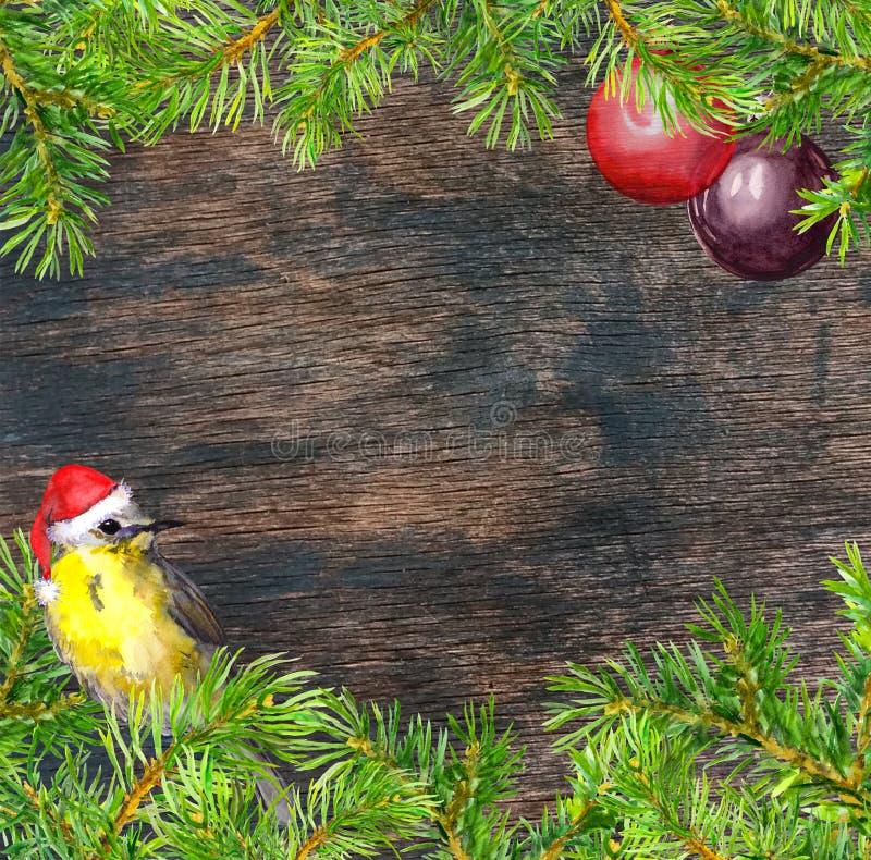 Oiseau dans le chapeau rouge de Santa, branches d'arbre de Noël, cadre de babioles Carte de Noël watercolor illustration de vecteur