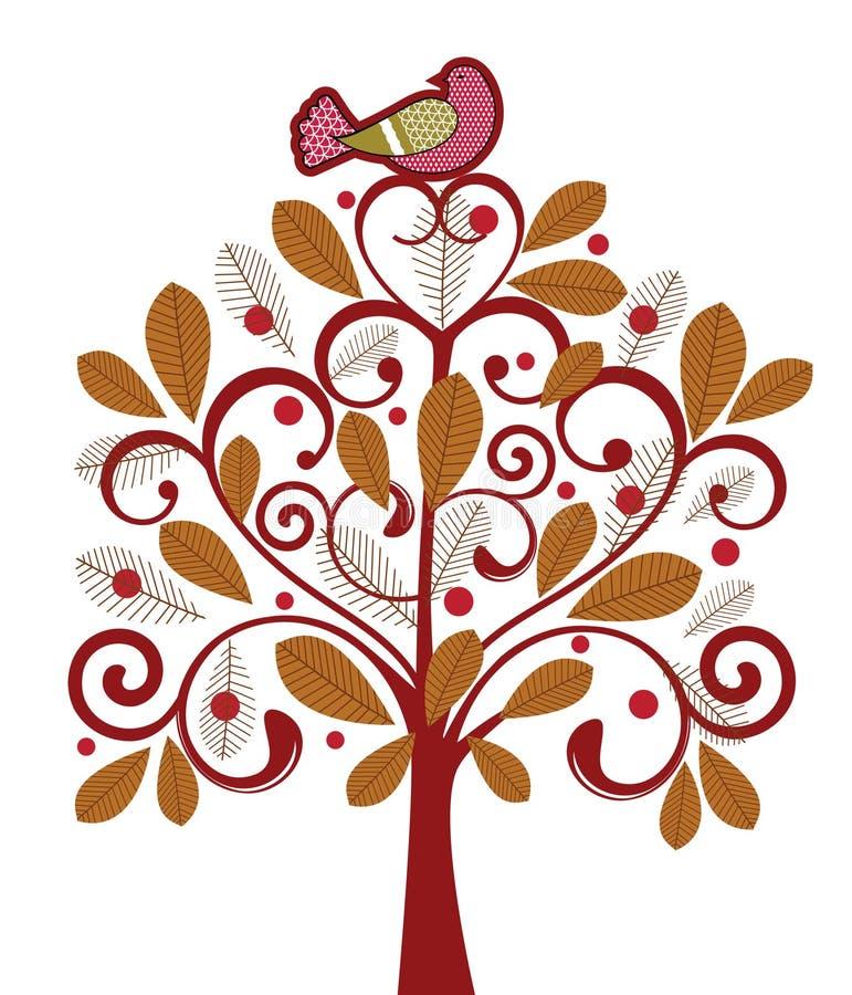 Oiseau dans un arbre illustration de vecteur