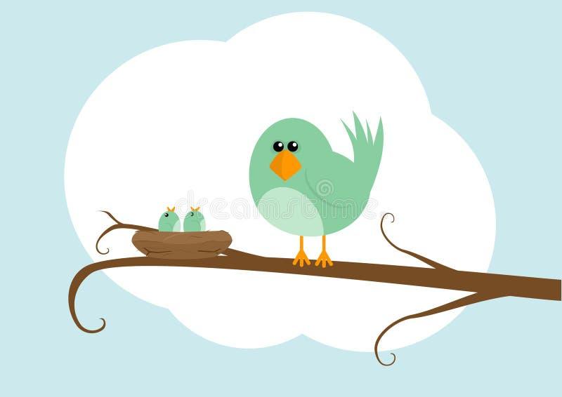 Oiseau de dessin animé avec l'emboîtement illustration libre de droits