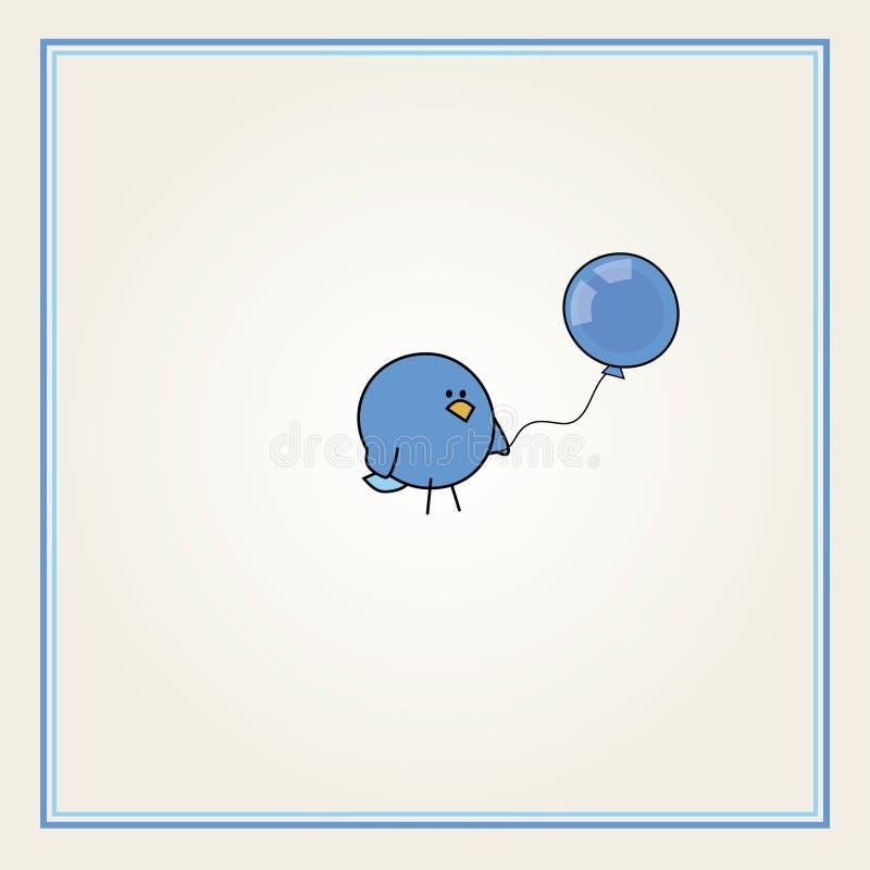 Oiseau de dessin animé avec un ballon bleu