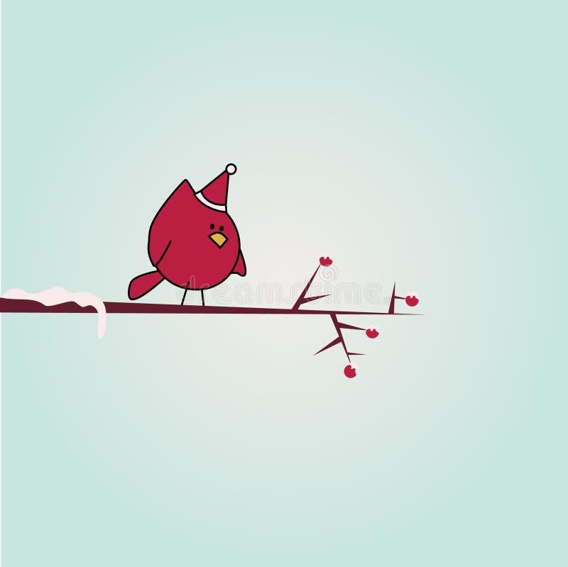 Oiseau de dessin animé sur le branchement illustration stock