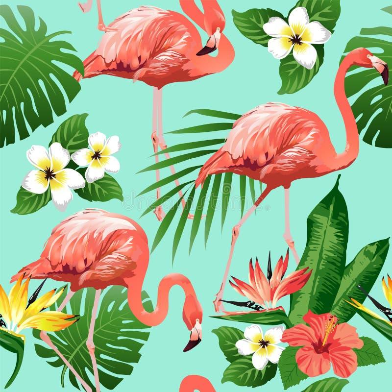 Oiseau de flamant et fond tropical de fleurs - modèle sans couture illustration de vecteur
