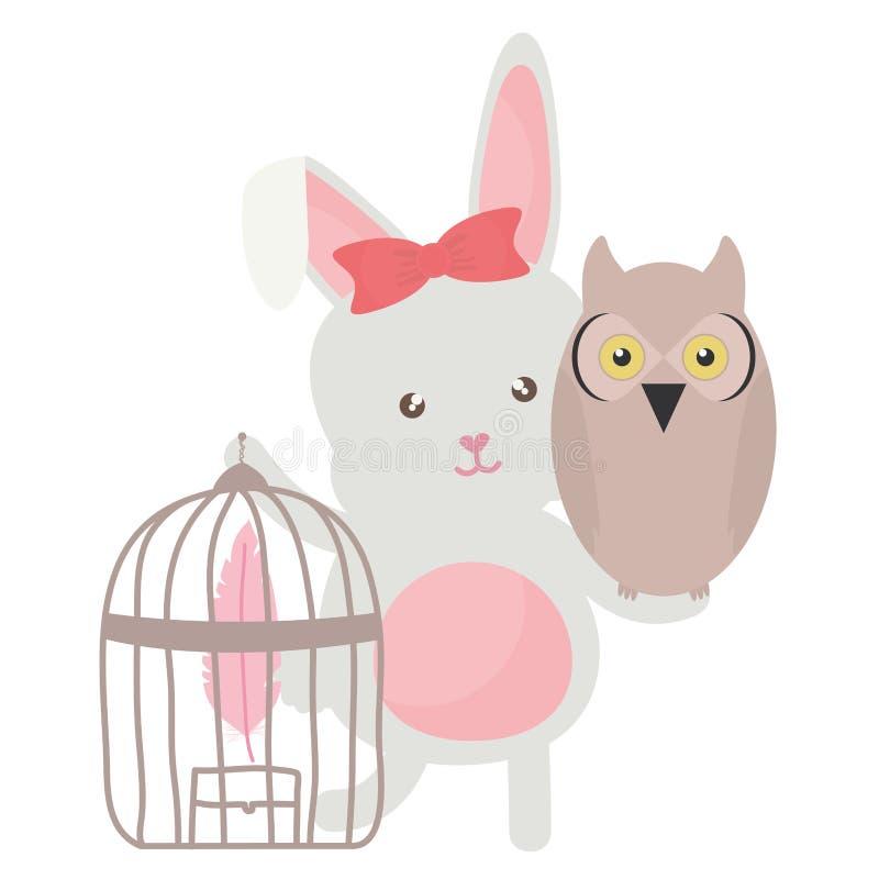 Oiseau de hibou avec le style de Bohème de lapin et de cage illustration stock