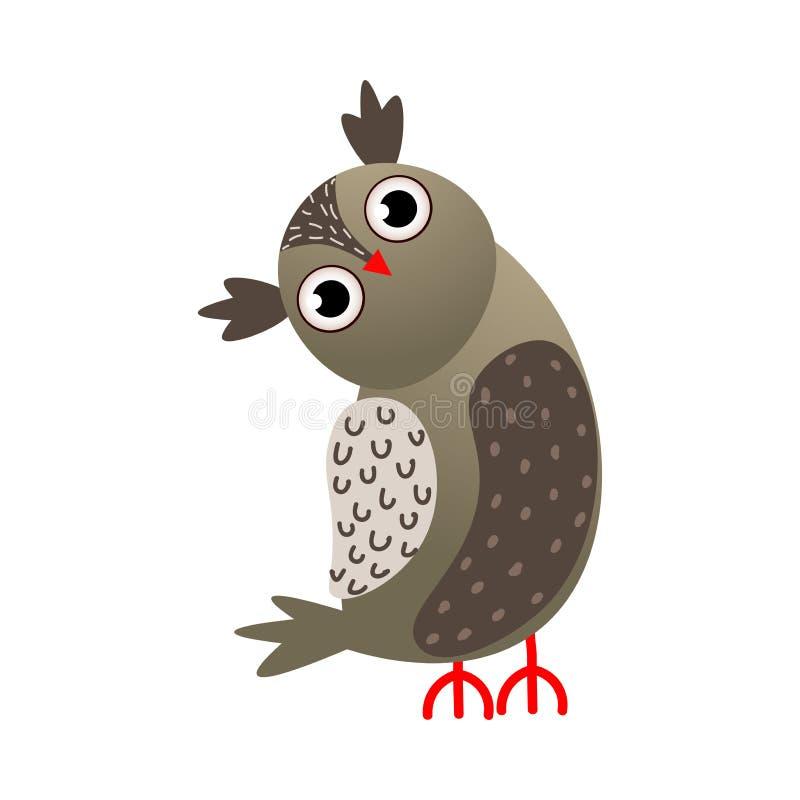 Oiseau de hibou de couleur de gris avec le regard rouge de bec illustration libre de droits