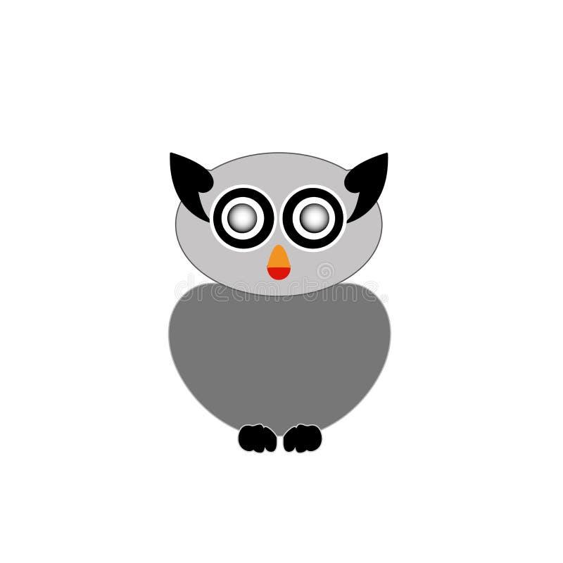 Oiseau de hibou de proie gris illustration stock