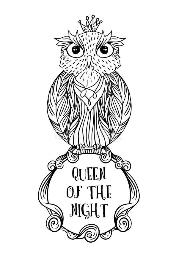 Oiseau de hibou se reposant sur le signe avec la reine d'inscription de la nuit sur le fond blanc illustration de vecteur