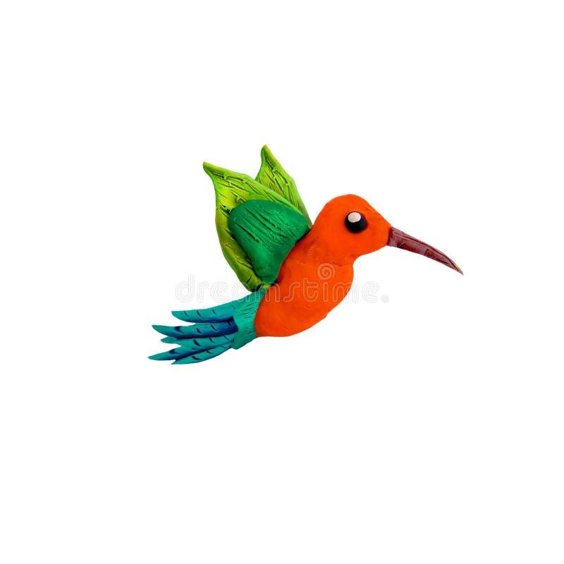 Oiseau de la sculpture 3D en pâte à modeler de colibri d'isolement sur le fond blanc photos libres de droits