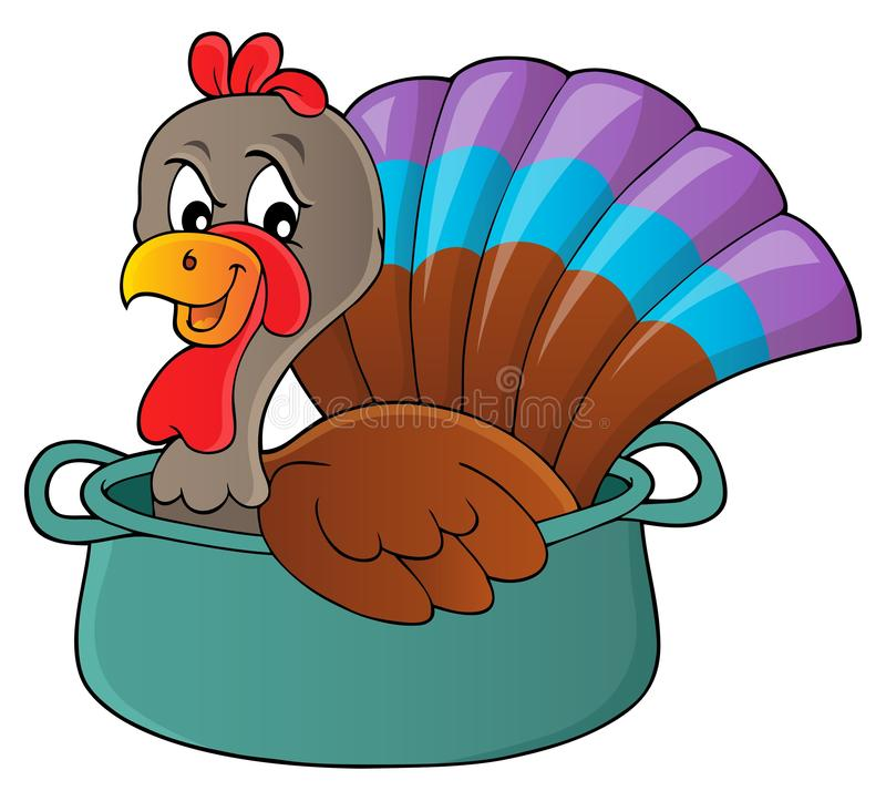 Oiseau de la Turquie dans l'image 1 de thème de casserole illustration libre de droits