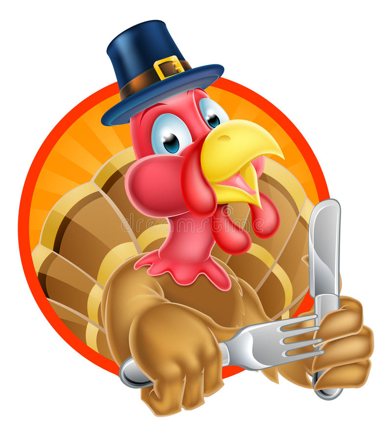Oiseau de la Turquie dans le chapeau de pèlerins tenant le couteau et la fourchette illustration stock