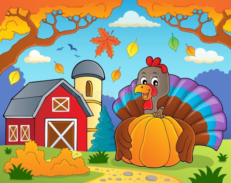 Oiseau de la Turquie tenant le thème 4 de potiron illustration de vecteur