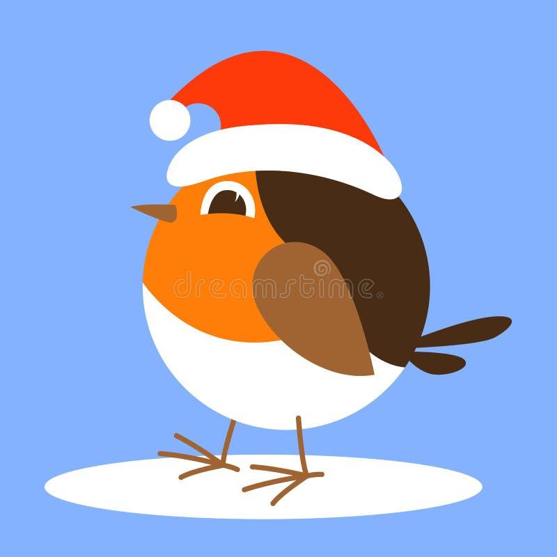 Oiseau de merle de bande dessinée dans le chapeau de Santa, illustration de vecteur, à plat illustration libre de droits