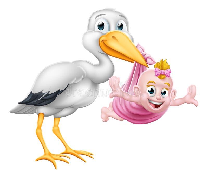 Oiseau de mythe de grossesse de bande dessinée de cigogne avec le bébé illustration stock