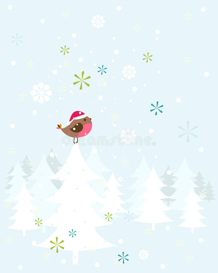 Oiseau de Noël de Robin illustration stock