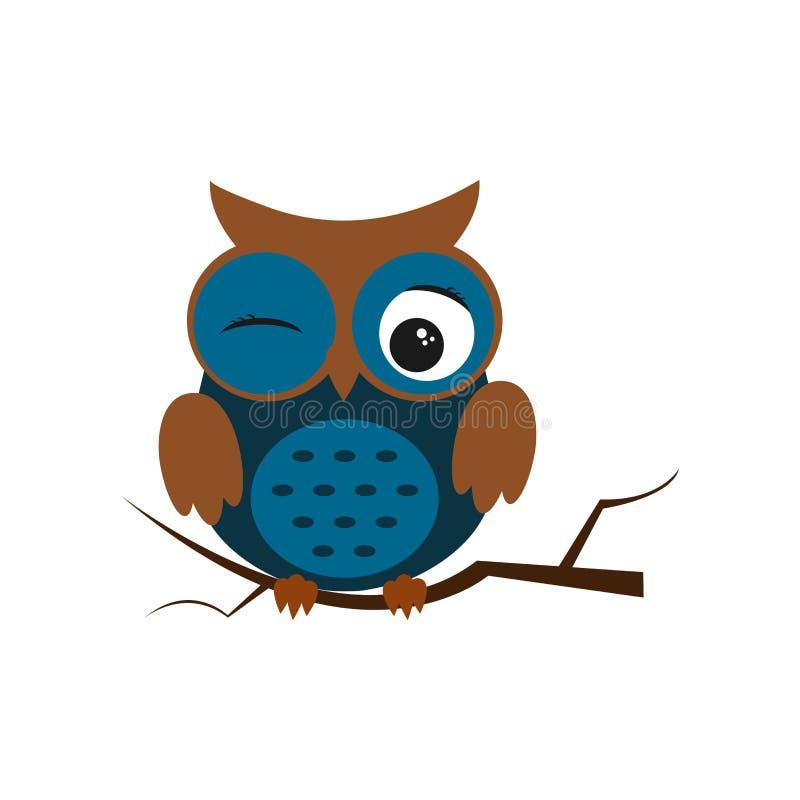 Oiseau de nuit de hibou avec de grands yeux Illustration color?e illustration stock