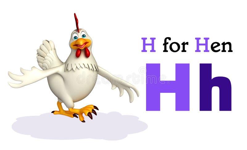 Oiseau de poule avec l'alphabet illustration de vecteur