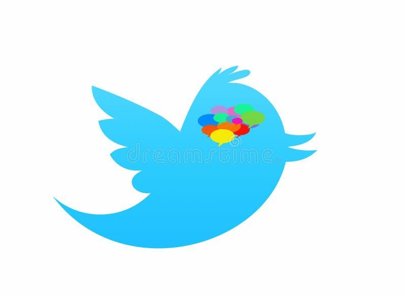 Oiseau de Twitter d'isolement dans le blanc avec la bulle de la parole images stock
