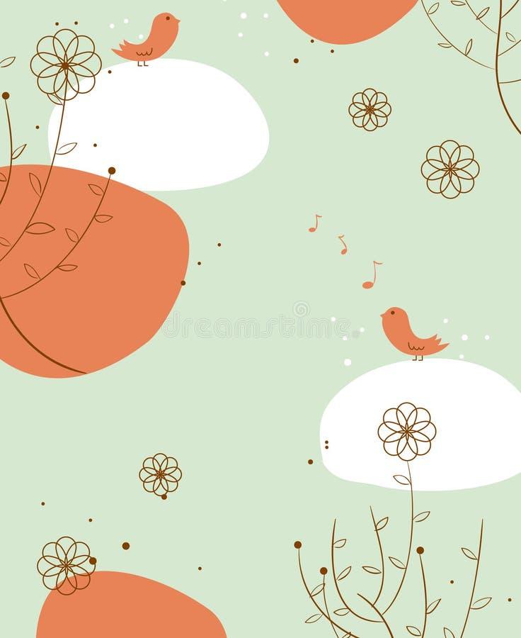 Oiseau de vecteur et papier peint d'arbre photo libre de droits